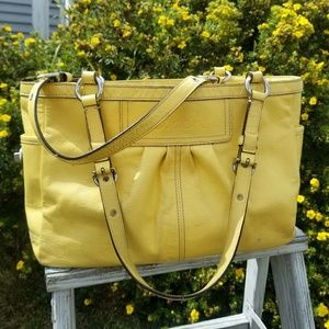 Coach Yellow Patent leather top handle tote bag
